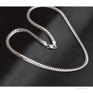 Other - 925 Silver Stamps Fashion Full Side Chain Necklace